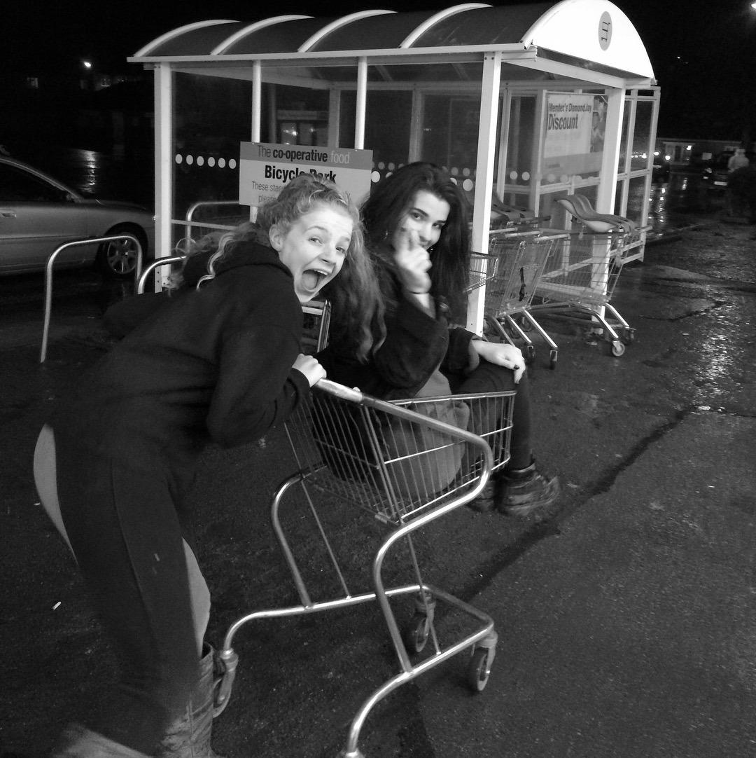 Greysha in a trolley